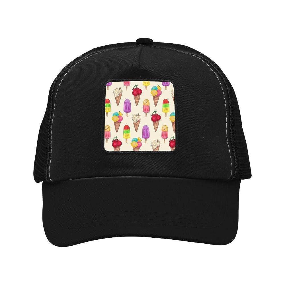 Adult Mesh Cap Hat Adjustable for Men Women Unisex,Print Ice Cream