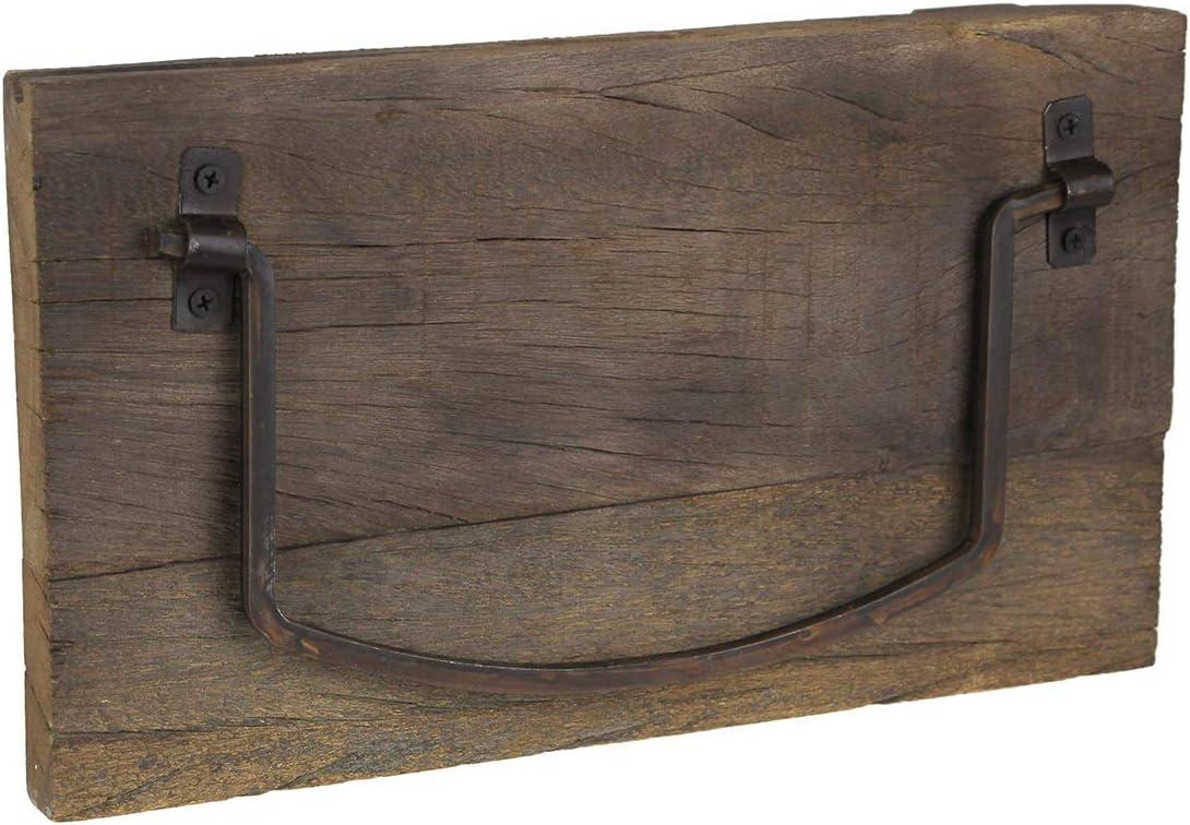 Zeckos Rustic Weathered Wood and Metal Wall Mounted Towel Holder