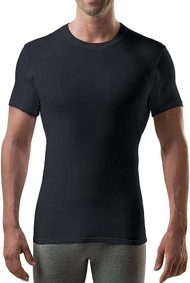 Sweatproof Undershirt for Men with Underarm Sweat Pads Original Fit, Crew Neck