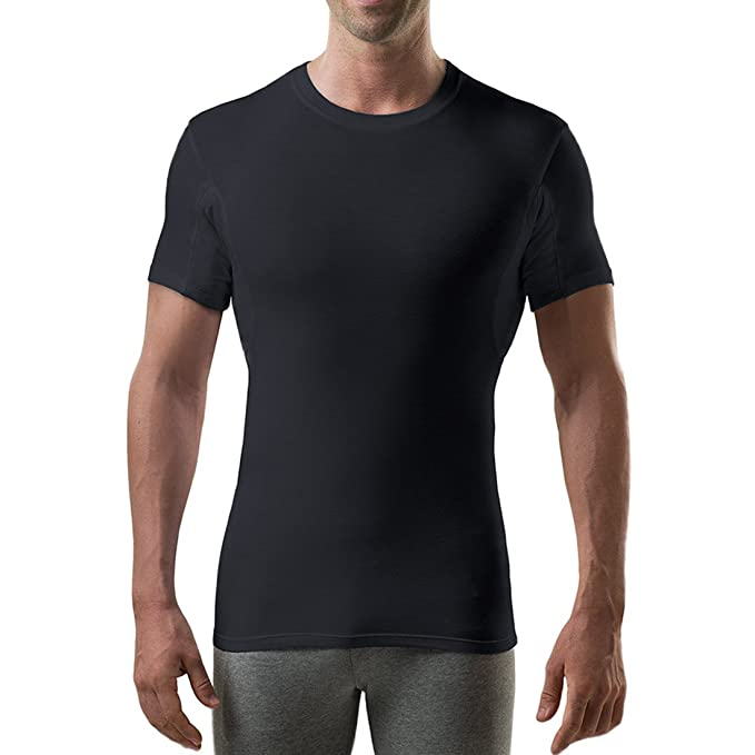 Thompson Tee With Sweat Pads Slim Fit Crew- Bamboo - Black - X-Small