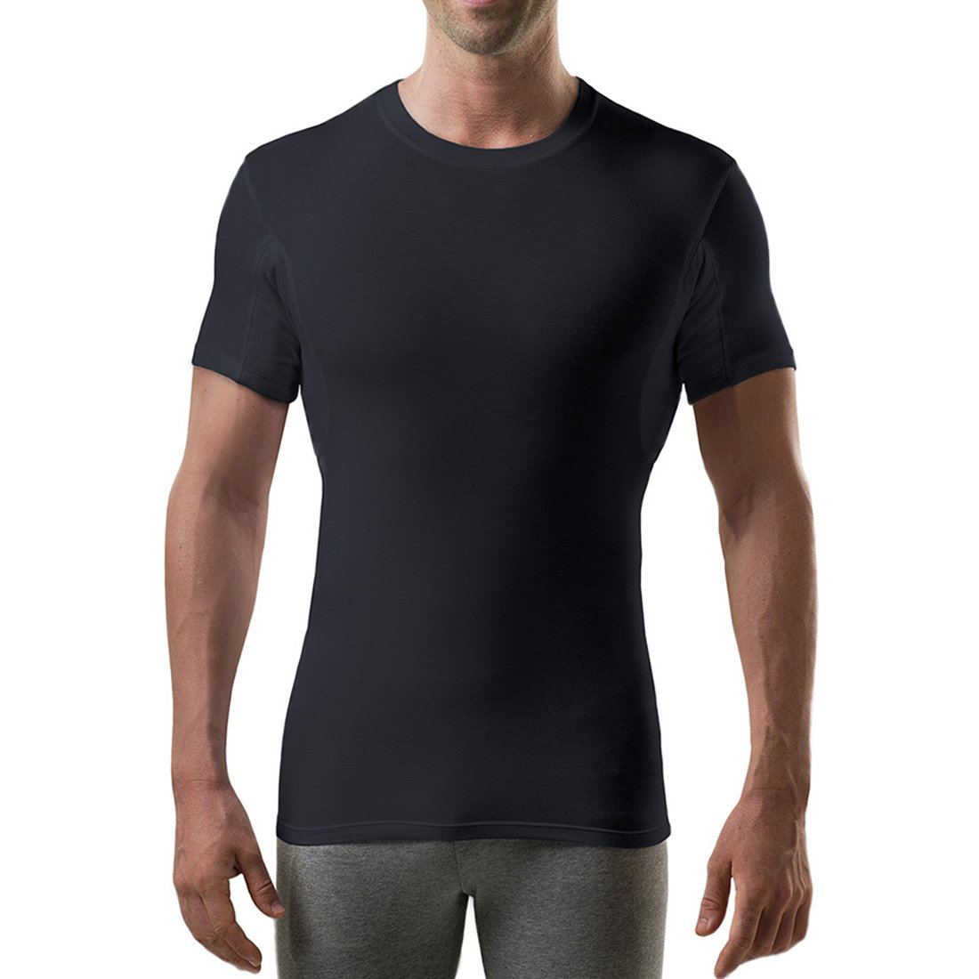 Thompson Tee with Sweat Pads Slim Fit Crew- Rayon from Bamboo -Black, Medium