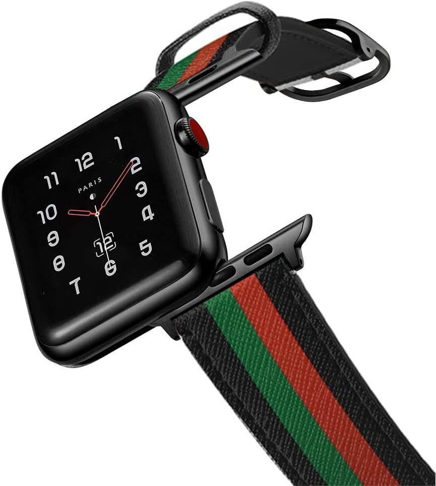 amBand Leather Band Compatible with Apple Watch SE Series 6 38mm 40mm 42mm 44mm, Genuine Leather Vintage Replacement Strap Classic Bands Buckle Compatible with iWatch 6/5/4/3/2/1
