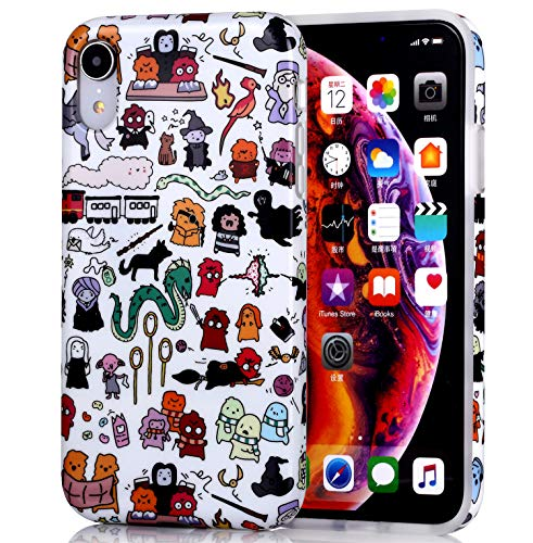 Adorable Protective Phone Case for iPhone XR, Raised Edges Scratch Resistant Light Weight Stylish Slim Soft TPU Glossy Rubber Silicone Skin Cover for iPhone XR 2018 6.1 inch - Harry Potter Doodle -