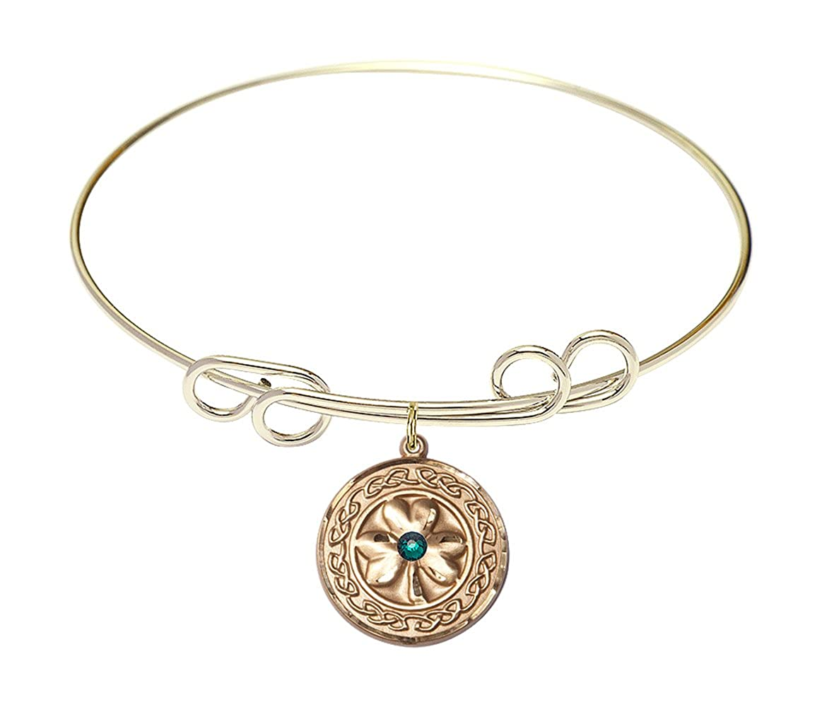 DiamondJewelryNY Double Loop Bangle Bracelet with a Shamrock w//Celtic Border Charm.