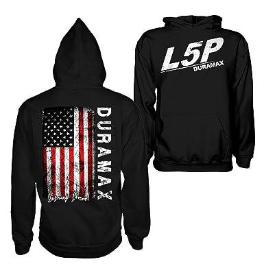 4f252681495e Amazon.com: L5P Duramax American Flag Chevy GMC Hoodie Sweatshirt: Clothing