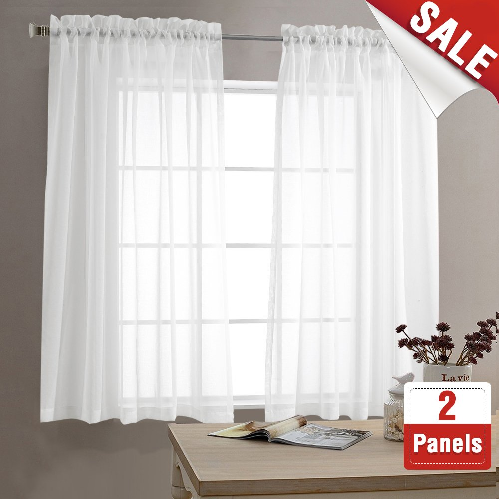 Sheer White Curtains For Living Room 63 Inch