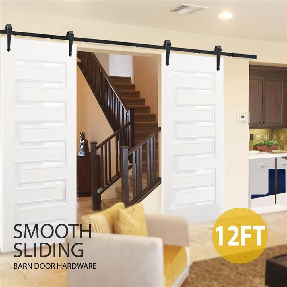 tinkertonk 6 FT/183cm Black Retro Style Sliding Barn Wood Door Hardware Closet Set For Single Wooden Door Popamazing