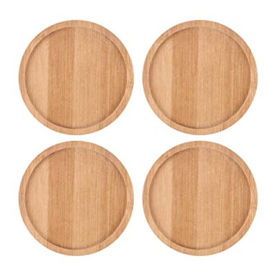SQOWL 4 Pack 4.7 Inch Bamboo Round Plant Saucer Plant Pot Tray for Indoor and Outdoor Plants : Garden & Outdoor