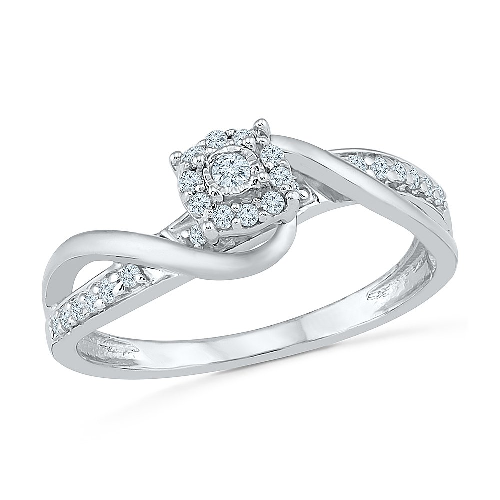 Sterling Silver & 10KT Two Tone White Round Diamond Fashion Ring by D-GOLD (Image #2)
