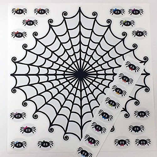 Reusable Sticky Pin the Spider on the Web Halloween Poster Classroom Activity or Birthday Fun for 1-24 Players Easy Peel Restickable Game Pieces -