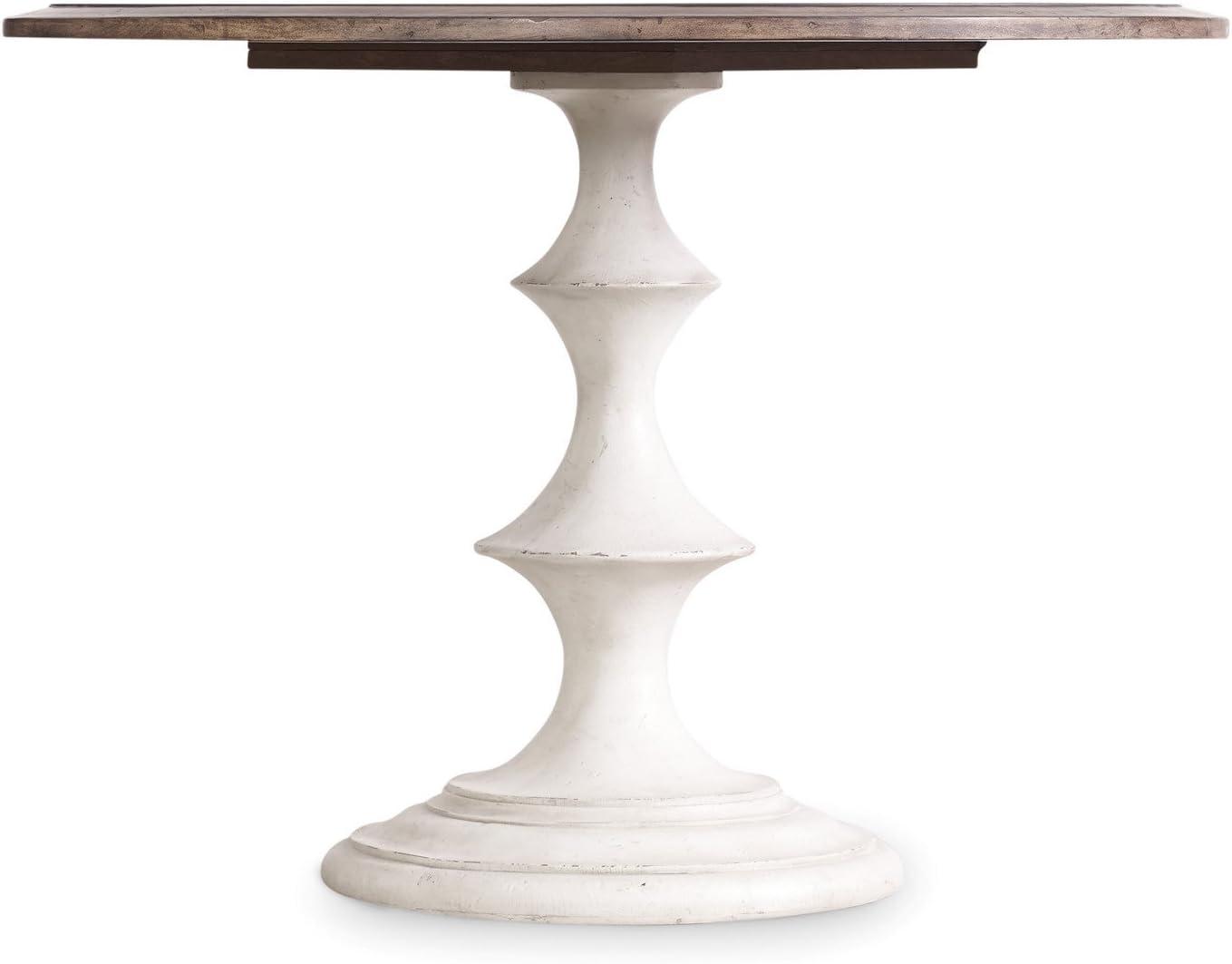 Hooker Furniture Melange Brynlee 42 Round Pedestal Dining Table in Walnut and Distressed White