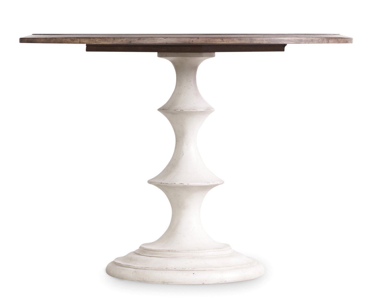Hooker Furniture Melange Brynlee 42 Round Pedestal Dining Table in Walnut and Distressed White