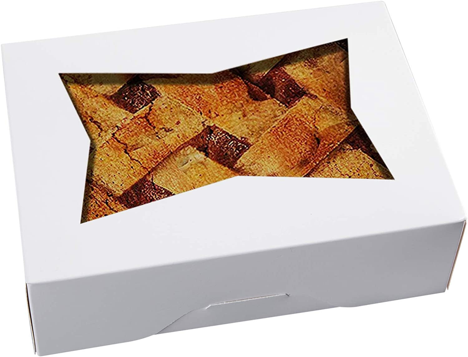 [25pcs]8inch Cookie Boxes with Window Lid,White Cardboard Pops Treat Gift Bakery Box for Muffins and Pastry,Strawberries Chocolate Container in Bulk 8