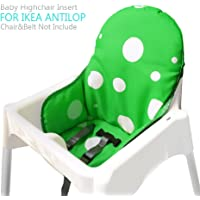 IKEA Antilop Highchair Seat Covers & Cushion by Zama, Washable Foldable Baby Highchair Cover IKEA Childs Chair Cushion (Dark Green)