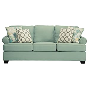 Ashley Furniture Signature Design - Daystar Sleeper Sofa with 4 Pillows - Queen Mattress – Seafoam