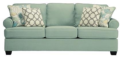 Charmant Ashley Furniture Signature Design   Daystar Sleeper Sofa With 4 Pillows    Queen Mattress   Seafoam
