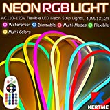 KERTME Neon Led Type AC 110-120V LED NEON LIGHT STRIP, Flexible/Waterproof/Dimmable/Multi-Colors/Multi-Modes LED Rope Light + 24 keys Remote for Home/Garden/Building Decoration (131.2ft/40m, RGB)