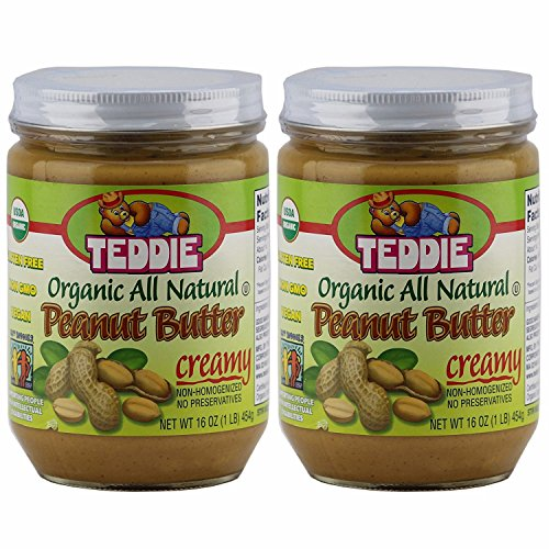 Teddie Organic All Natural Peanut Butter, Creamy 16 Ounce Jar (2Pack)