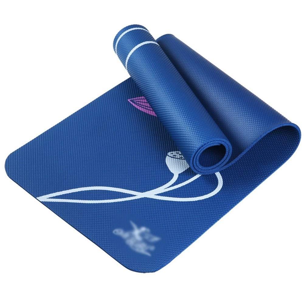 ロータスヨガのマットプリントピラティス/ストレッチ体操に適した滑り止め185 * 61 * 0.8 Cmマルチカラーオプション (色 : 青)  青 B07Q7QF2YL
