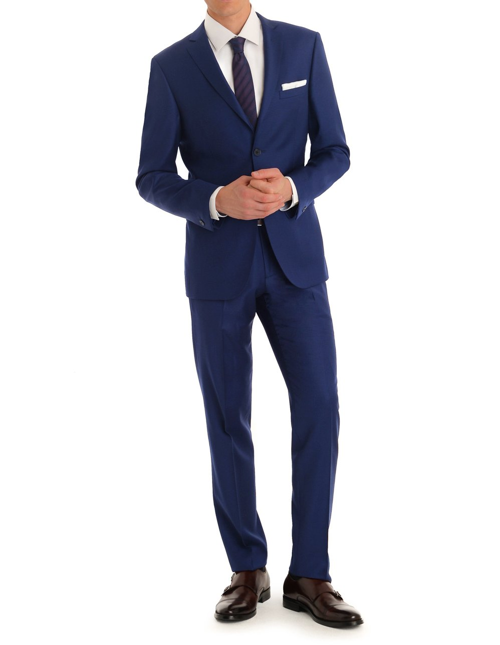MDRN Uomo Men's Slim Fit 2 Piece Suit, Indigo, 38R/32W
