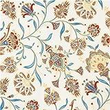 Cream red blue flower gold metallic fabric Robert Kaufman Studio RK (per 0.5 yard unit)