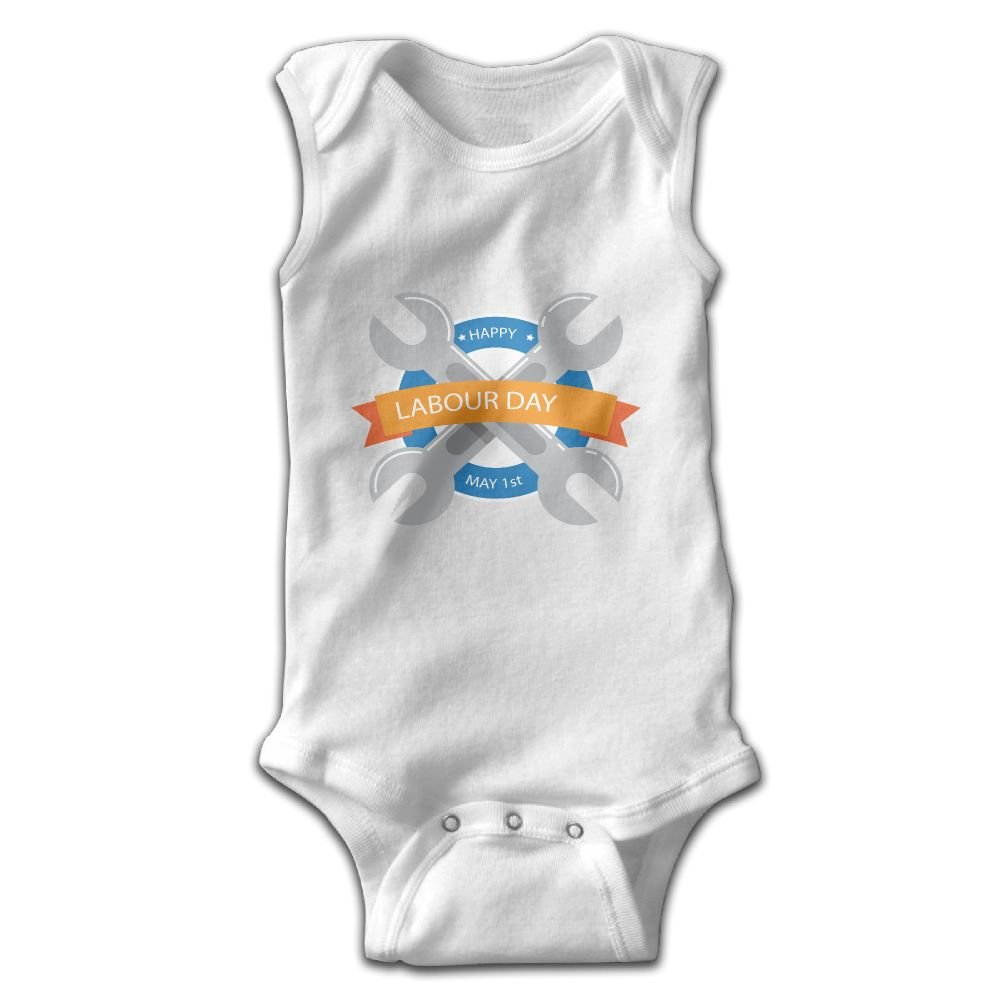 Efbj Toddler Baby Boys Rompers Sleeveless Cotton Onesie Labor Day Print Jumpsuit Winter Pajamas Bodysuit