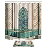 NYMB Gothic Arabian Decor, Grand Mosque of Hassan Morocco Vintage Artwork, 69X70in Mildew Resistant Polyester Fabric Shower Curtain Suit With 15.7x23.6in Flannel Non-Slip Floor Doormat Bath Rugs