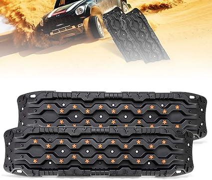 Universal Schwarz Traktion Track-2 PCS Traktion Matte Recovery F/ür Sand Schlamm Schnee Spur Reifen Leiter 4WD-Traction Boards