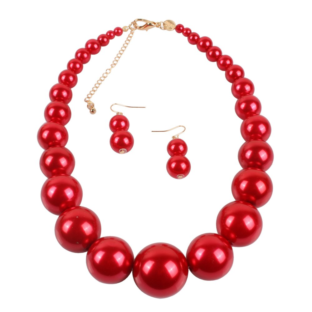 KOSMOS-LI Large Style Big Imitate Pearl Strand Choker Necklace with Earrings Set Ltd. 8052RED