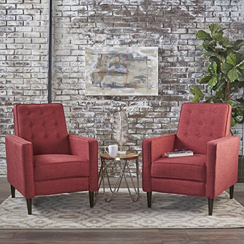Christopher Knight Home 301379 Mason Mid-Century Modern Tuft Back Recliner (Qty of 2, Fabric/Red), Dark Espresso (Living Room Furniture Sets Red)