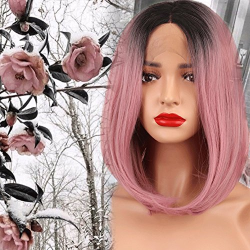 Black Ombre Pink Straight Bob Synthetic Lace Front Wigs For Women High Temperature Short Hairstyles Natural Afro Wigs