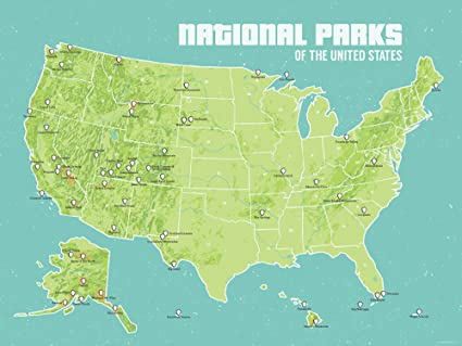 Amazon Com Best Maps Ever Us National Parks Map 18x24 Poster Green