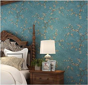 Yosot Retro Wenig Blumen Schlafzimmer Wohnzimmer Fernseher Sofa Hintergrund  Wand Vliestapeten Blau