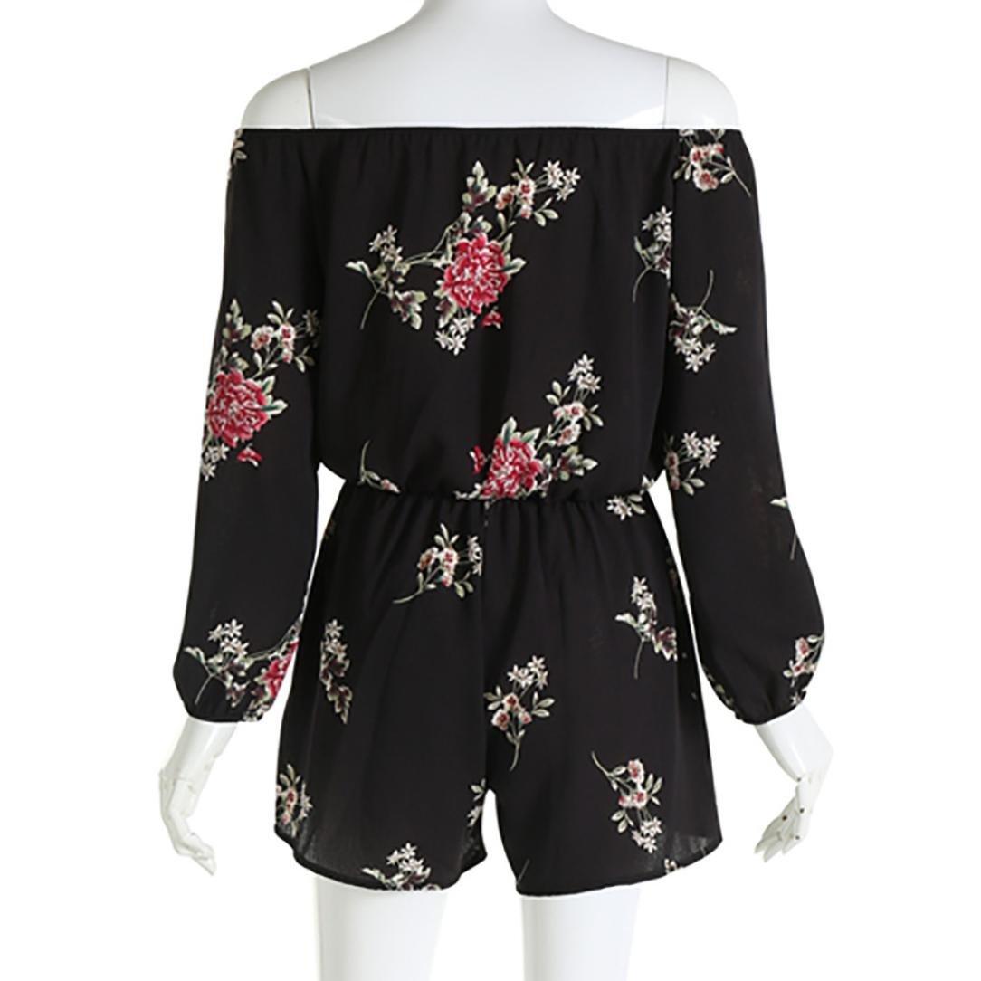 bbf100de878 Amazon.com  Kstare Women Sexy Off Shoulder Belt Backless Print Floral  Rompers Mini Playsuit Short Pant Jumpsuit  Clothing