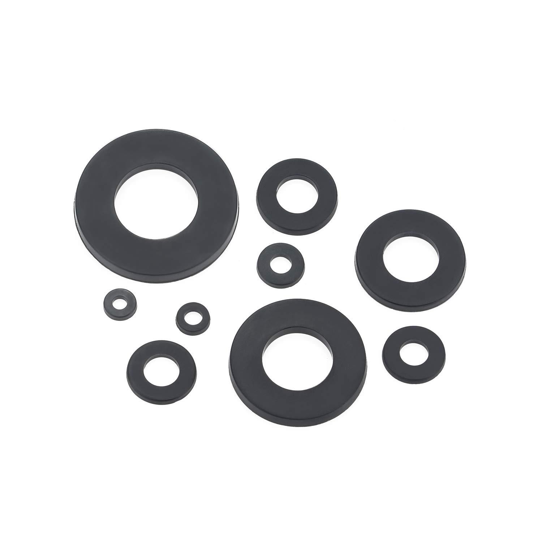 Black M2 M2.5 M3 M4 M5 M6 M8 M10 M12 Sutemribor Nylon Flat Washer Assortment Set 600 pcs 9 Sizes