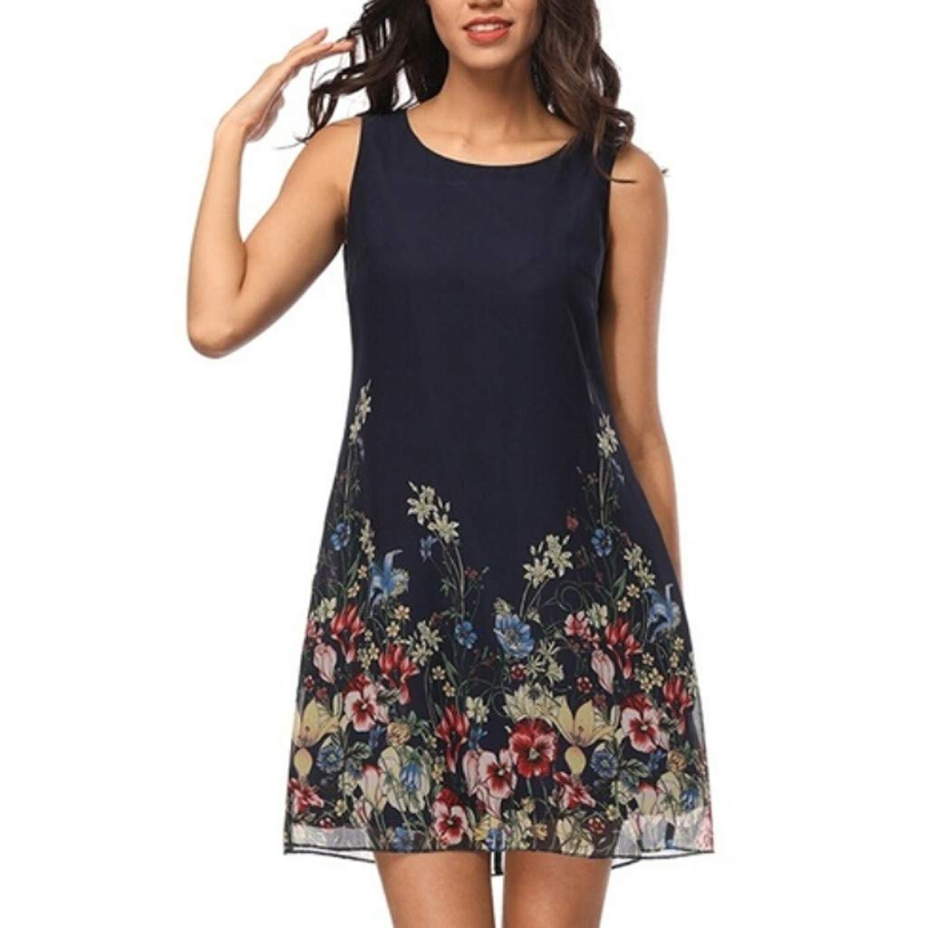 wodceeke Women Summer Casual Off Shoulder Sleeveless Flower Print Crew Neck Mini Dress(Blue,XL)