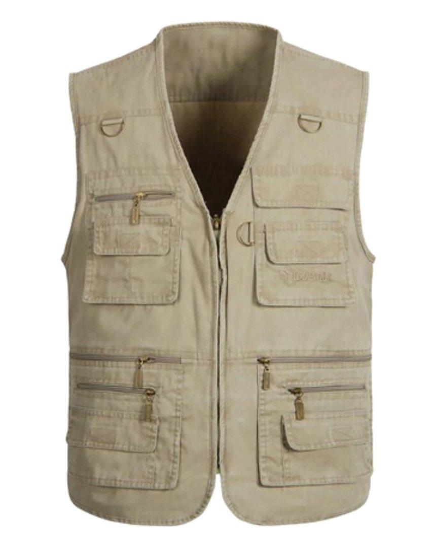 UUYUK Men's Multi Pocket Outdoor Military Travel Fishing Vest Khaki US 5XL