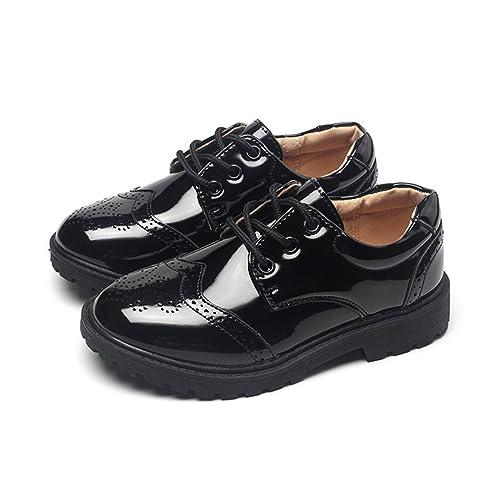 Kleinkind Kleinkind Uniform Oxford Kleid Leder Schuh Anti-Slip Shiny Slip-on Loafer für Tanzen Ball Kleines Kind/Großes Kind (Color : Black, Size : 33)