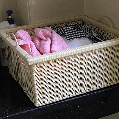 YZL/ Drawer/storage box/storage basket rattan storage baskets storage baskets/kitchen/bathroom/storage bamboo basket , meters white by KAIMENDAJI