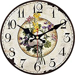 ShuaXin Wall Clock Classic Flower Country Style Round Wooden Clock (6, A)