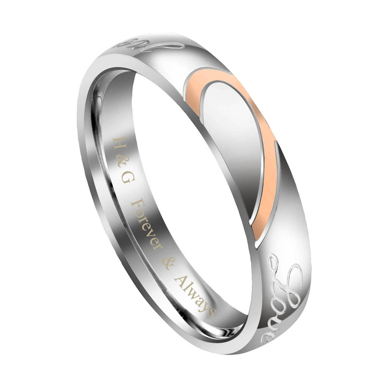 Jovivi Custom Couple Rings - Personalized Her Stainless Steel Real Love Heart Matching Set Couples Engagement Wedding Band Valentine Gifts Size 6