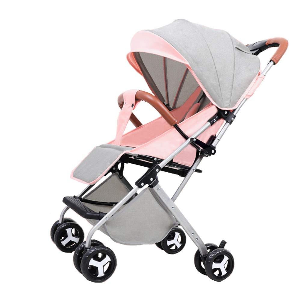 ベビーカー 背面ベビーカー ベビーカー超軽量ポータブル折りたたみトロリー赤ちゃん子供プッシュポケット傘背もたれ無料調整高炭素鋼材料3色 (色 : ピンク)  ピンク B07SCYDS4Z