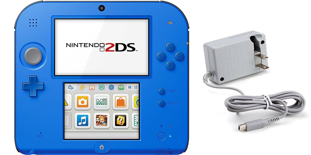 Nintendo 2DS Bundle (2 Items): Nintendo 2DS Electric Blue 2 w/Mario Kart 7 and Tomee AC Adapter