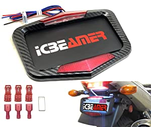 ICBEAMER Universal Fit Most Motorcycle License Plate Frame w/ 6+ Flashing LED Tail + Brake Light [Carbon Fiber Pattern]