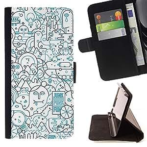 For Samsung Galaxy S6 Case , Líneas Resumen forma Art Pen Ocupado- la tarjeta de Crédito Slots PU Funda de cuero Monedero caso cubierta de piel