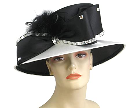 2f565175318 Ms Divine Women s Satin Year Round Church Dress Formal Hats  H857 (Black Ivory)  at Amazon Women s Clothing store