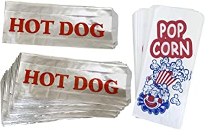 Paper Popcorn Bags - Printed Foil Hot Dog Bags - 50 Each - Red White Blue Silver