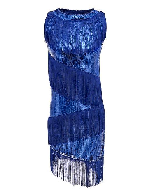 Donna Senza Spalline Vestito Latino da Ballo Frangia Glitter Paillettes  Elegante Abito Blu M 99d743328da