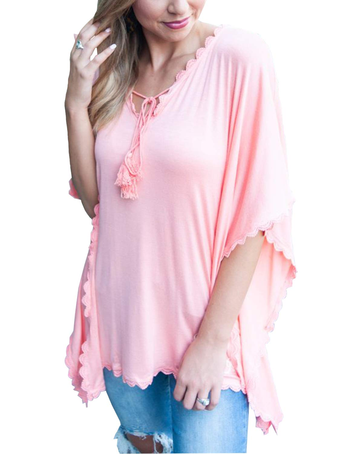 Blooming Jelly Women's Batwing Sleeve Shirt v Neck Loose High Low Top Pink