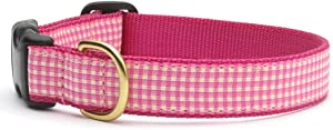 Up Country Pink Gingham Quick Release Dog Collar